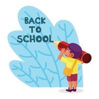 niño con lápiz grande escribiendo de regreso a la escuela