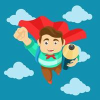 Happy student flying in the sky with pencil vector