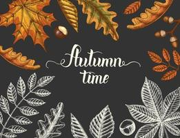 Vintage Autumn background with hand drawn leaves vector