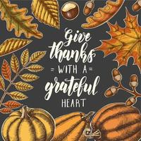 lindo otoño día de acción de gracias letras de caligrafía vector