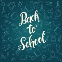 Banner de caligrafía de regreso a la escuela con patrón de icono de escuela