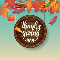 letras de caligrafía del día de acción de gracias de otoño vector