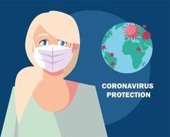 concetto di protezione del coronavirus con donna mascherata