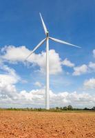 Wind turbine on the wind farm for producing renewable energy.
