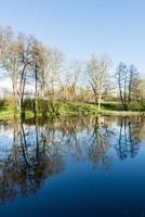 Reflejos escénicos de árboles y nubes en el agua. foto