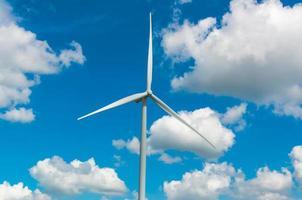 Closeup Wind turbine power generator on blue sky photo