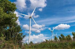 Wind turbine power generator on blue sky photo