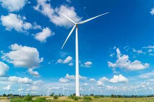 Wind turbine power generator on blue sky
