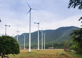 Wind turbine on the green grass photo