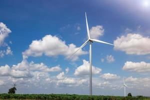 Wind Turbine Farm with Sunlight photo
