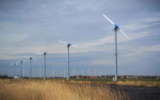 Field of modern power windmills in Netherlands