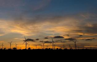 Wind turbine power generator at twilight time