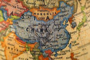 um mapa colorido da China e da Mongólia