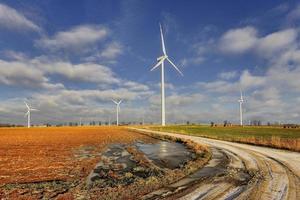 Wind power plant in the fields