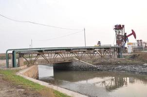 Simple Bridges and industrial pipe in oilfield