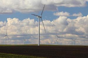 Wind turbines eco renewable energy production photo