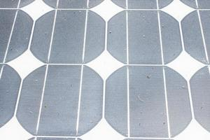 Background of used Solar Panels photo
