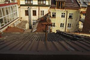 View from the roof on the residential  houses photo