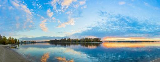 Sunrise on the river autumn photo