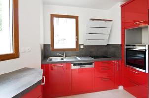 Red new modern kitchen