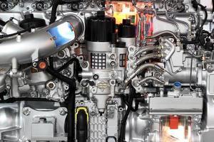 Detalle del motor de camión pesado foto