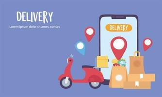 Online delivery service with packages and a smartphone vector