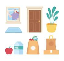 Stay home icon set vector