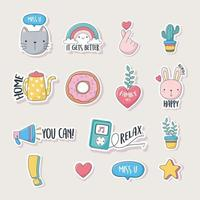 Assorted cute icons for cards, stickers or patches vector