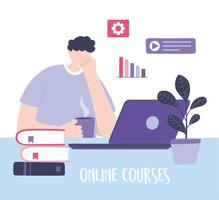Young man taking an online course on a laptop vector
