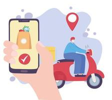 Online delivery service with man on scooter and smartphone vector