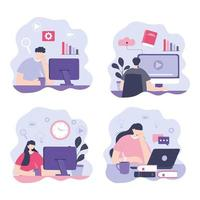 Set of people taking online courses vector