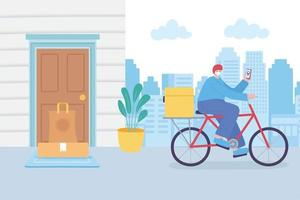 Online delivery service with bike courier  vector