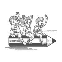 tres niños montando lápiz de regreso a la escuela