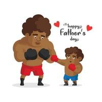 Father and son dressed in sportswear practicinh boxing vector