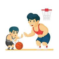 father and son playing basket ball together vector