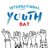 International Youth day design with raised hands
