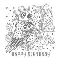 Hand drawing bird on branch birthday design vector