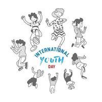 diseño del día internacional de la juventud con adolescentes juping