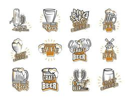 Set of icons of craft beer vector