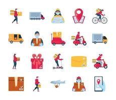 Set of icons of delivery and transportation goods vector