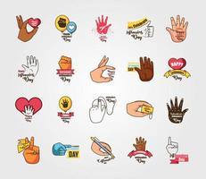 set di icone della giornata internazionale per mancini