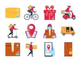 Conjunto de entrega de iconos con mercancías de transporte