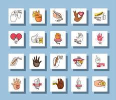 set di icone del giorno mancino internazionale