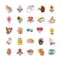 set di icone per la giornata internazionale dei mancini