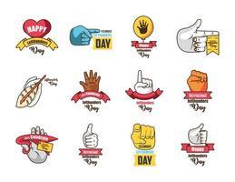 set di icone della giornata internazionale dei mancini