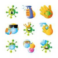 Set of emoji icons of coronavirus