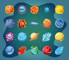 Fantastic planets icon set