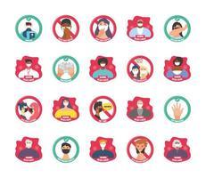 conjunto de iconos modernos de medidas de seguridad y precauciones