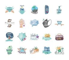 Cute set of icons of coronavirus prevention and protection