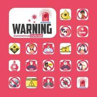 Conjunto de iconos de señales de advertencia y medidas de seguridad